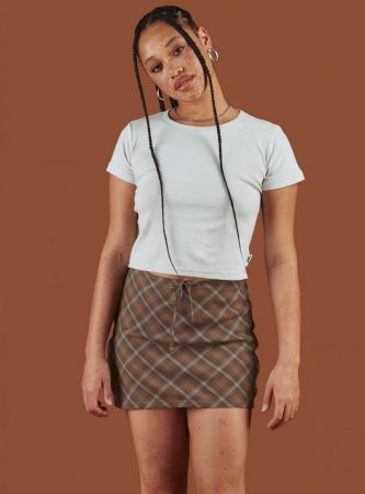 Bottoms | Unif Womens Biscuit Mini Skirt Brown Plaid