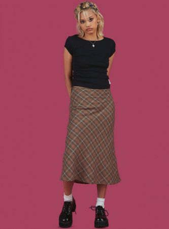 Bottoms | Unif Womens Biscuit Skirt Brown Plaid