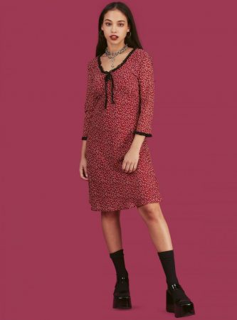 Dresses | Unif Womens Berry Dress Red Floral