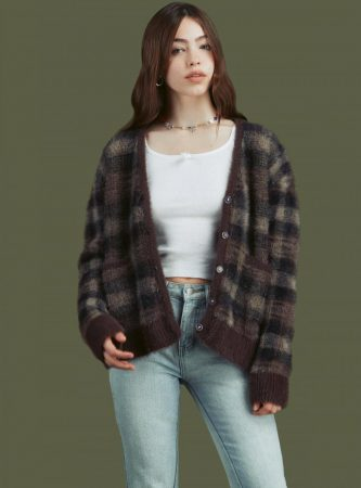 Sweaters | Unif Womens Ty Cardigan Brown Plaid