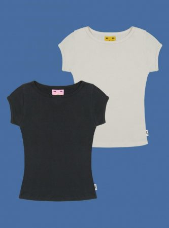 Tops | Unif Womens Candy Tee Two-Pack Vintage Black/Vintage White