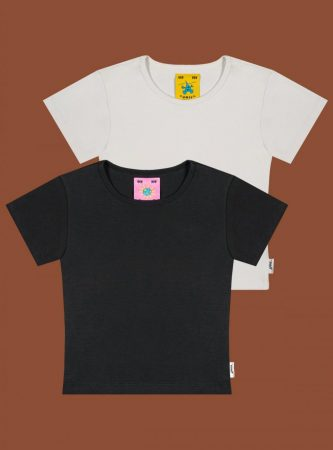 Tops | Unif Womens Lucky Tee Two-Pack Vintage Black/Vintage White