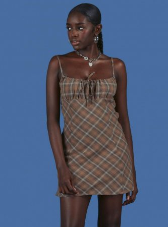 Dresses | Unif Womens Biscuit Dress Brown Plaid